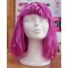 Wig fuchsia with metallic bands