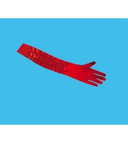 Guantes rojos con pliegues 60 cm.