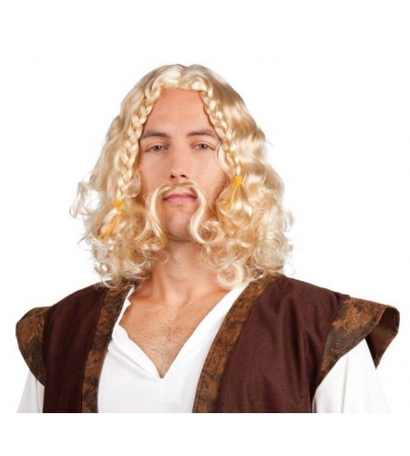 Peluca vikingo rubia con bigote