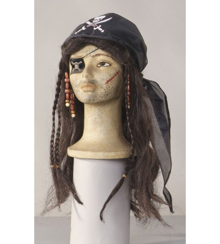 Pirate wig with headscarf