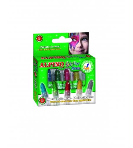 Set of 5 glitter make-up crayons