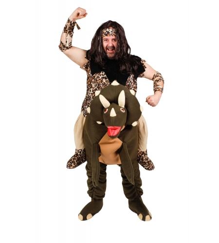 Caveman man costume with dinosaur